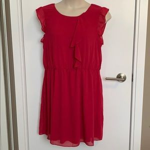Reitmans Bright Pink Lined Ruffle Front Dress, 2X